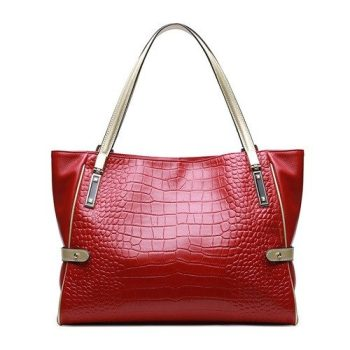 Crocodile Pattern Top-Handle Leather Handbag - Larchant