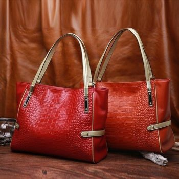 Crocodile Pattern Top-Handle Leather Handbag - Larchant1