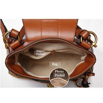 Crossbody Leather Messenger Handbag - Basel3