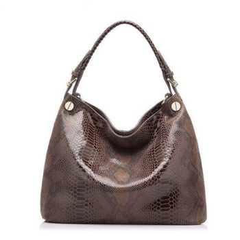 Fashion Snake Pattern Leather Handbag - Burcy