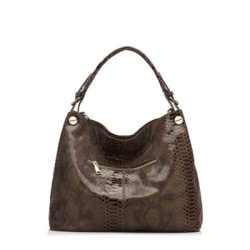 Fashion Snake Pattern Leather Handbag - Burcy1