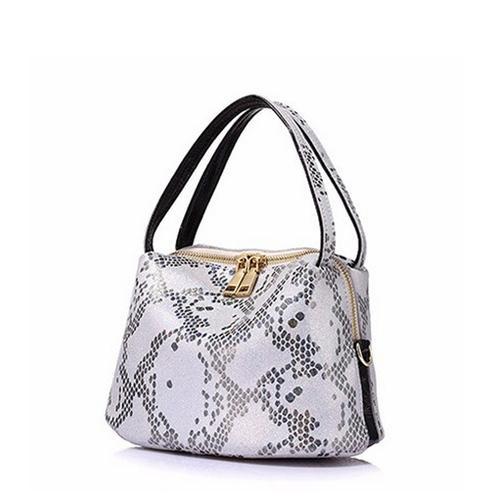 Fashion Snake Pattern Leather Handbag - Moriers