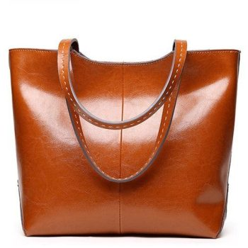 Large Capacity Leather Top-Handle Tote Bag - Ury