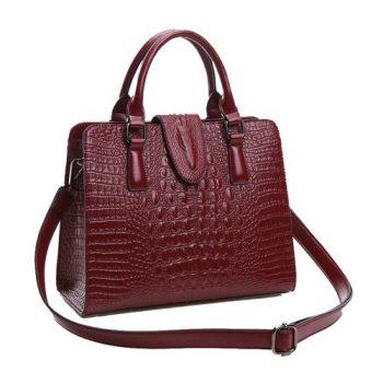 Modern Crocodile Style Messenger Handbag - Lignou