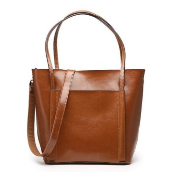 Retro High Capacity Leather Tote Bag - Vinneuf