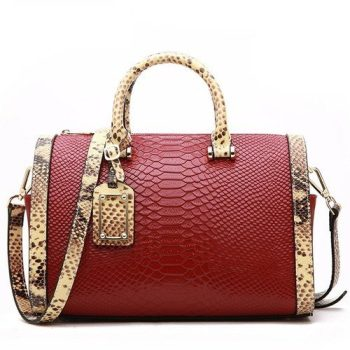 Serpentine Fashion Leather Messenger Handbag - Manou