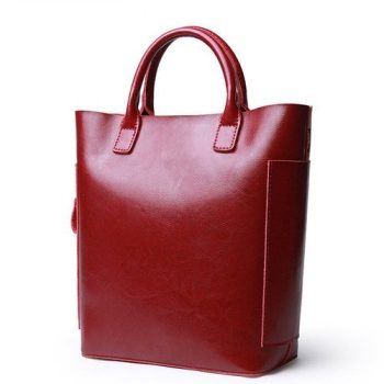 Tall Top-Handle Leather Tote Bag - Troyes