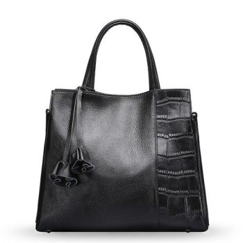 Tortoiseshell Genuine Leather Tote Bag - Pierres