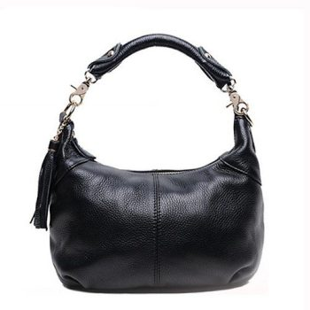 Playful Solid Color Leather Handbag - Rognac