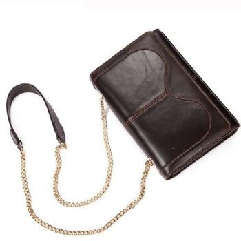Solid Dark Brown Leather Handbag - Cannes