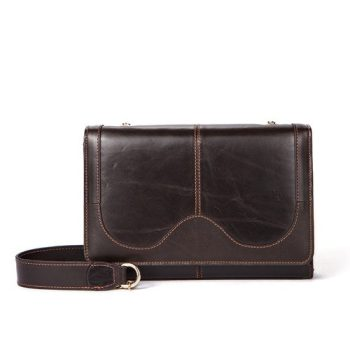 Solid Dark Brown Leather Handbag - Cannes1