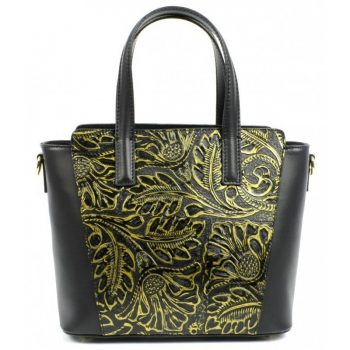 Artsy Golden Women's Leather Tote Bag - Bertina