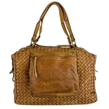 Authentic Natural Leather Vintage Tote Bag For Women - Bologna