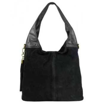 Black Chamois Leather Purse For Women - Bella