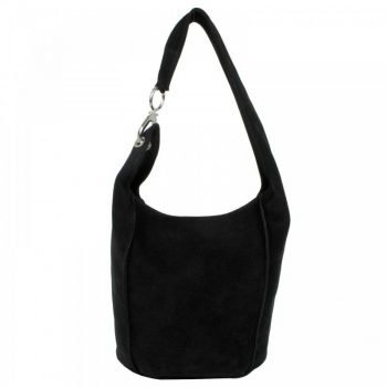 Black Chamois Leather Women's Purse - Berta