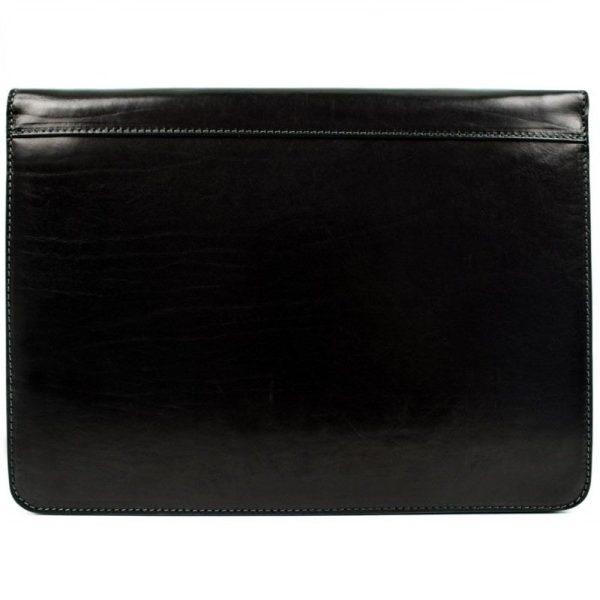 Black Classic Leather Document Folder - Candide