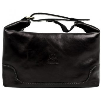 Black Genuine Leather Toiletry Bag - Autumn Leaves
