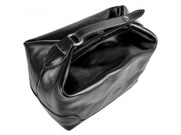 Black Genuine Leather Toiletry Bag - Autumn Leaves1