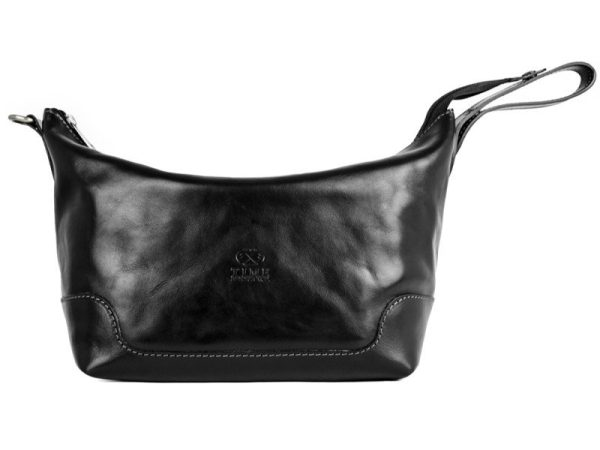 Black Genuine Leather Toiletry Bag - Autumn Leaves2