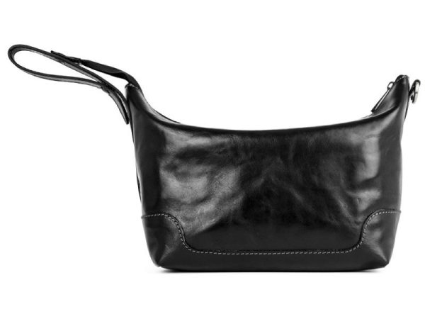 Black Genuine Leather Toiletry Bag - Autumn Leaves3