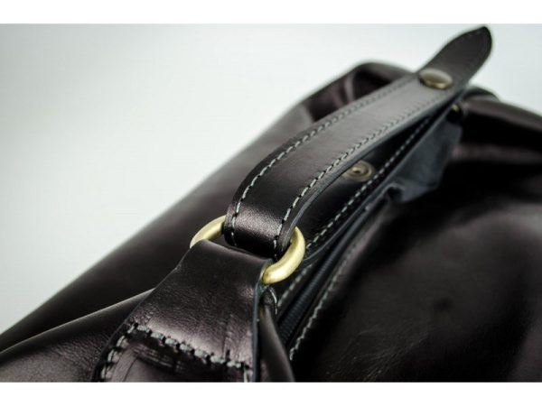 Black Genuine Leather Toiletry Bag - Autumn Leaves8
