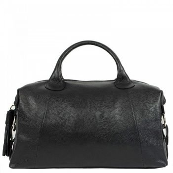 Black High Capacity Leather Duffle Bag For Women - Sara