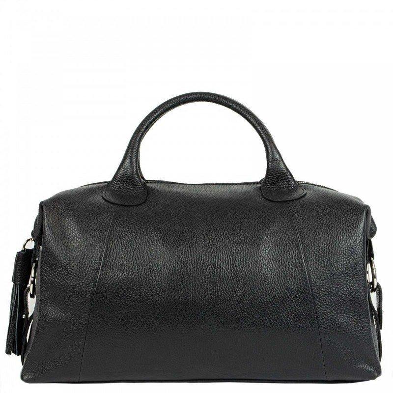 Black High Capacity Leather Duffle Bag For Women Sara