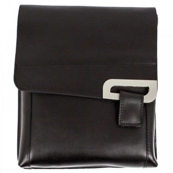 Black Leather Shoulder Messenger Handbag - Jacob