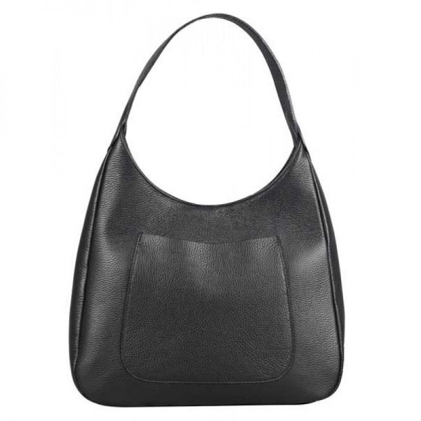 Black Leather Shoulder Purse For Women - Barbara