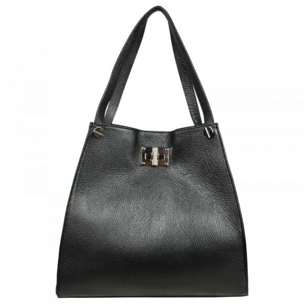 Black Leather Tote Bag For Women - Delanna