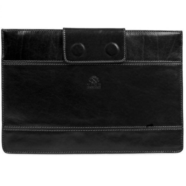 Black Real Leather Laptop Sleeve