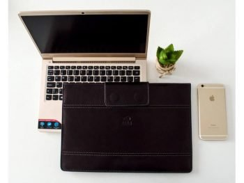 Black Real Leather Laptop Sleeve1