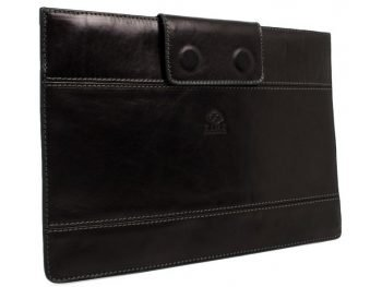 Black Real Leather Laptop Sleeve2