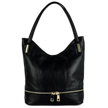 Black Real Leather Messenger Purse - Pavia