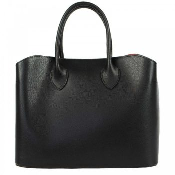 Black Saffiano Leather Modern Tote Bag - Luisa