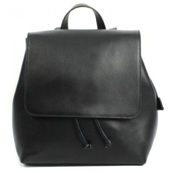Black Saffiano Leather Stylish Backpack - Paola