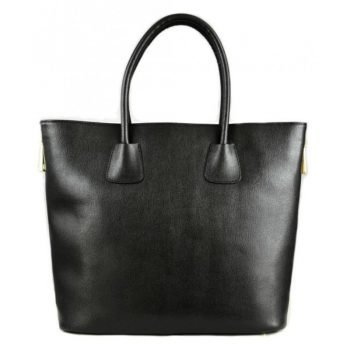 Black Spacious Modern Leather Bag For Women - Sabrina