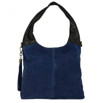 Blue Chamois Leather Purse For Women - Bella