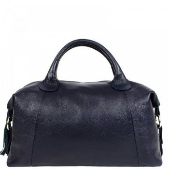 Blue High Capacity Leather Duffle Bag For Women - Sara