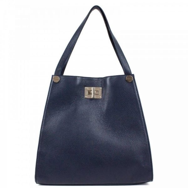 Blue Leather Tote Bag For Women - Delanna