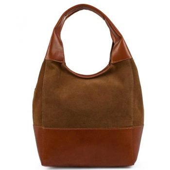 Brown Chamois Leather Purse For Women - Doppio