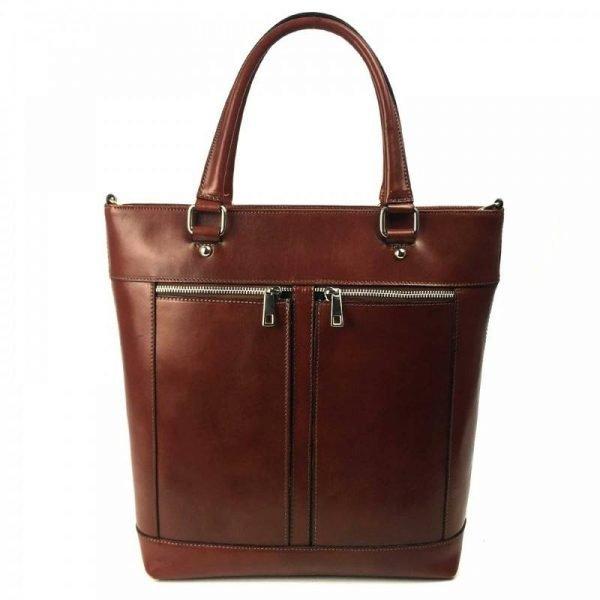 Brown Formal Leather Messenger Bag For Women - Agata