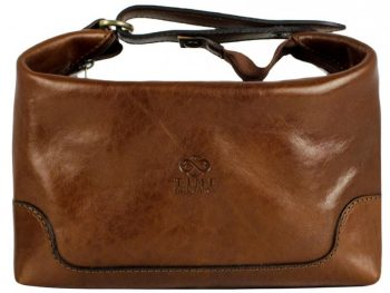 Brown Genuine Leather Toiletry Bag - Autumn Leaves