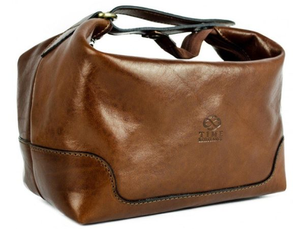 Brown Genuine Leather Toiletry Bag - Autumn Leaves1