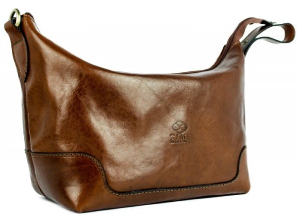 Brown Genuine Leather Toiletry Bag - Autumn Leaves2