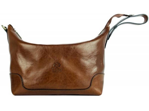 Brown Genuine Leather Toiletry Bag - Autumn Leaves3