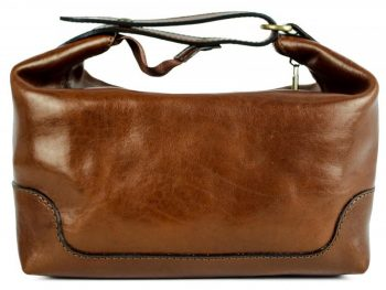 Brown Genuine Leather Toiletry Bag - Autumn Leaves4