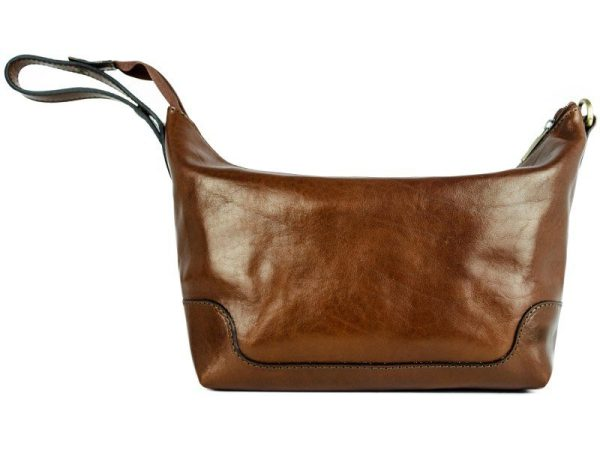 Brown Genuine Leather Toiletry Bag - Autumn Leaves5