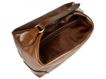 Brown Genuine Leather Toiletry Bag - Autumn Leaves6