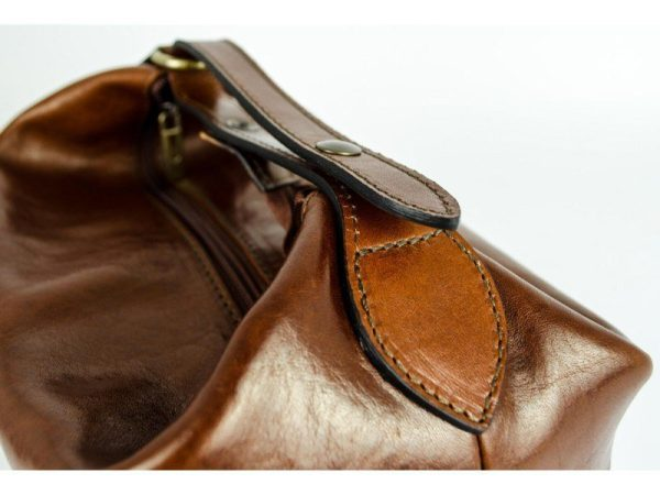 Brown Genuine Leather Toiletry Bag - Autumn Leaves9